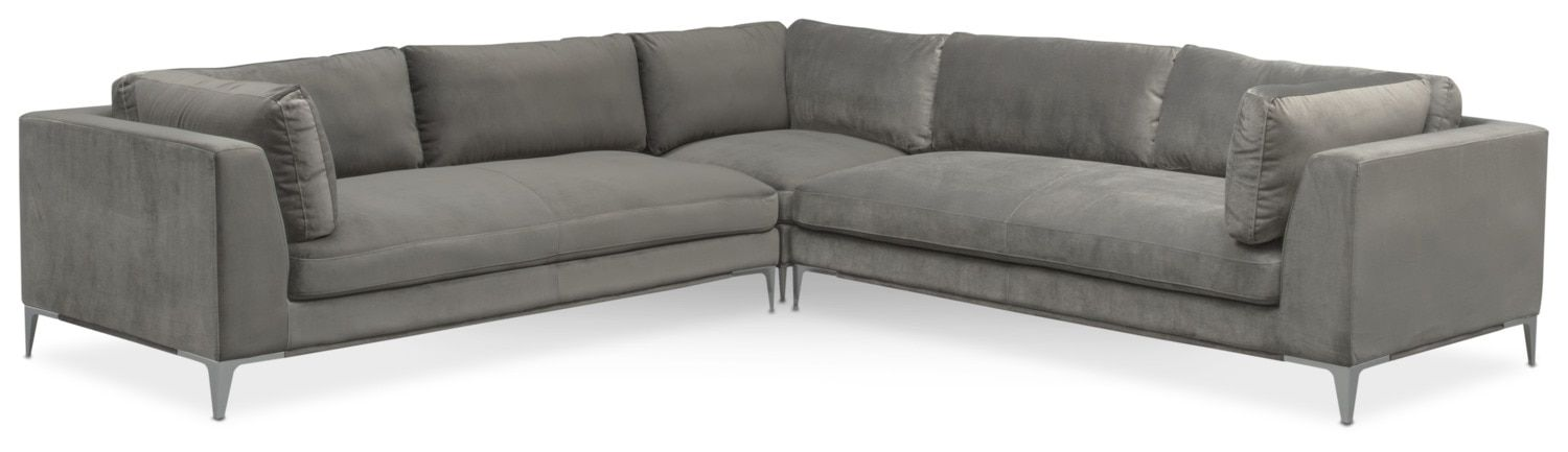 Living Room Furniture Aaron 3 Piece Sectional Flannel