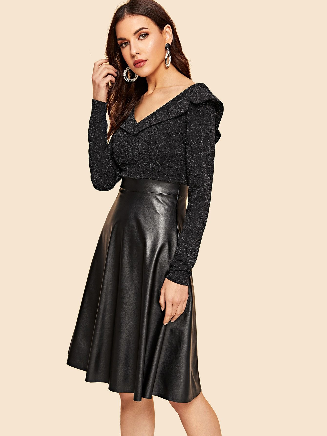 22ad539dea Vintage A Line Zipper Fit and Flare V Neck Long Sleeve Regular Sleeve High  Waist Black Knee Length 40s Foldover Front Glitter Bodice PU Dress