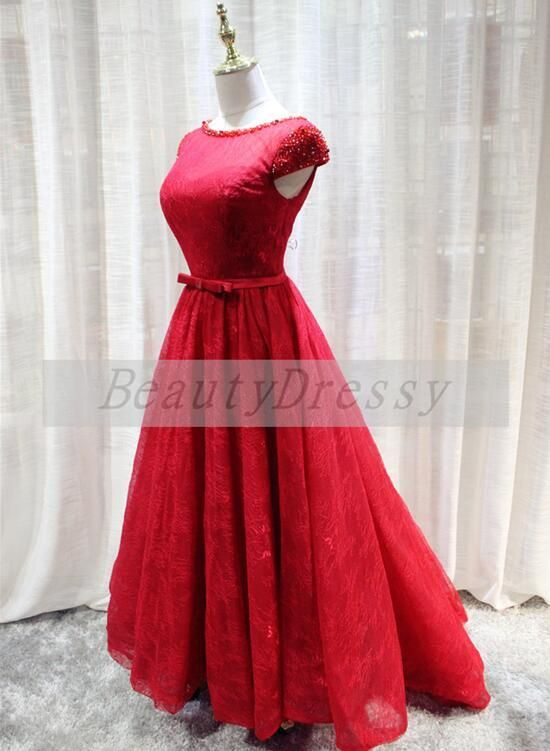 2307dfbd850 Red Lace High Low Lace-up Wedding Party Dress