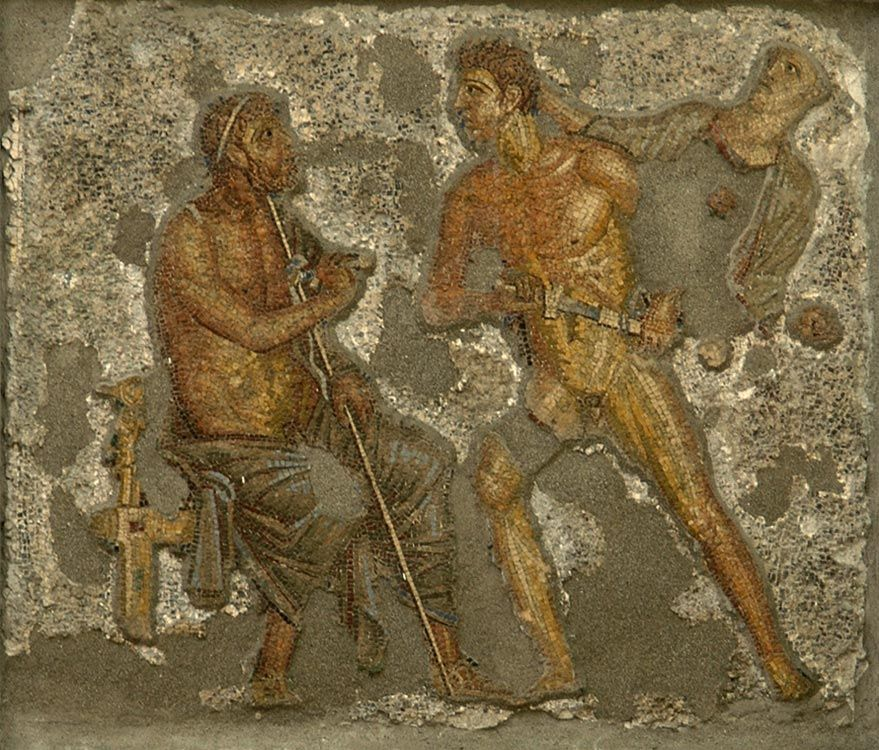 Wrath of Achilles: Athene appears to prevent the hero from assaulting Agamemnon.  Mosaic from Pompeii (House of Apollo, VI, 7, 23, inside wall of the garden). Glass mass.  Naples, National Archaeological Museum.
