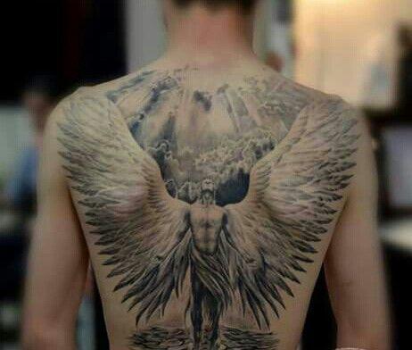 Tatuaje De Espalda Completa De Angel Con Las Alas Abiertas Back Tattoo Angel Tattoo Men Angel Back Tattoo