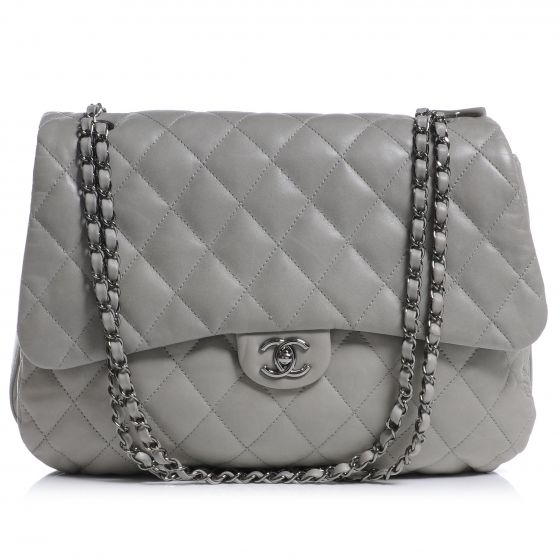 5493a874e45cd1 CHANEL Lambskin Maxi Quilted Chanel 3 Flap Bag Grey | Fifty Shades ...