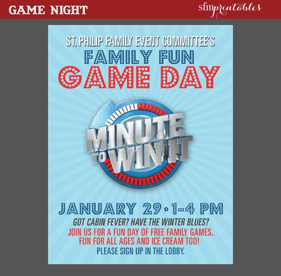 Game Night Poster Minute to Win It   Template Church School - fundraiser invitation templates