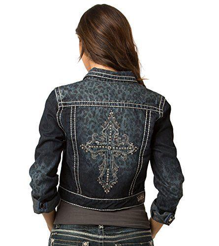 08951c3c9 Rubberband Jeans Women's Denim Jacket (Jamie / Dark Leopard / Cross ...