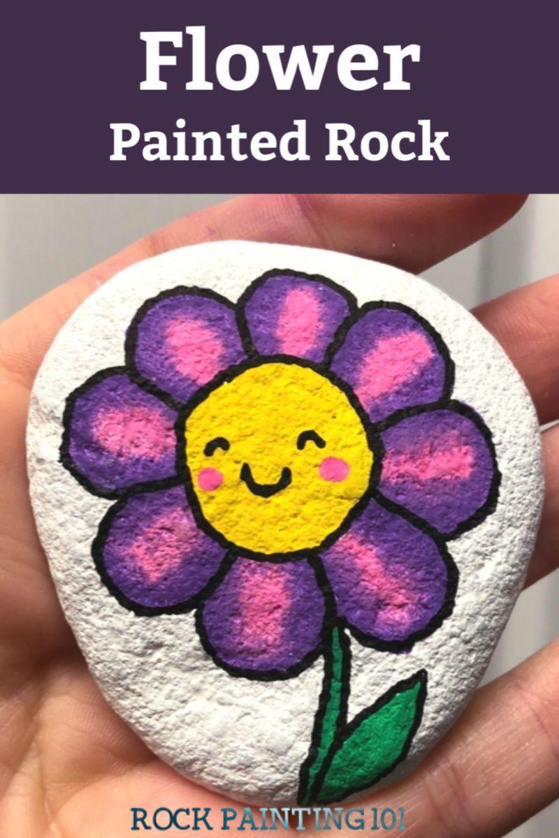 Happy Flower Rocks ~ An easy flower painting idea - Rock Painting 101