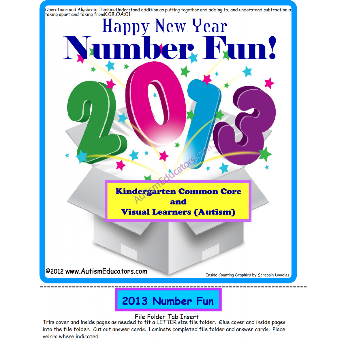 File Folder Addition Happy New Year Theme For Kindergarten