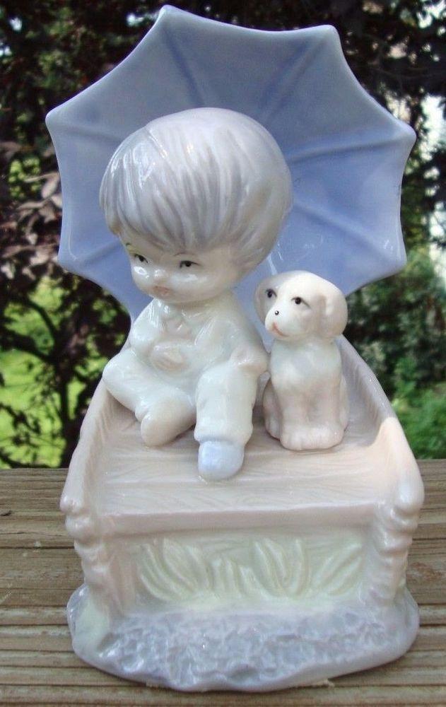 Vintage Davar Figurine Boy & Dog in Boat - Great Condition! Original Sticker