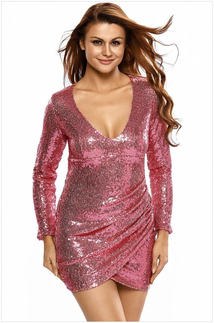 2017 Autumn Party Long Sleeve Gold Sequin Dress Vestido Lentejuelas  Femininos Silver - US $19.60