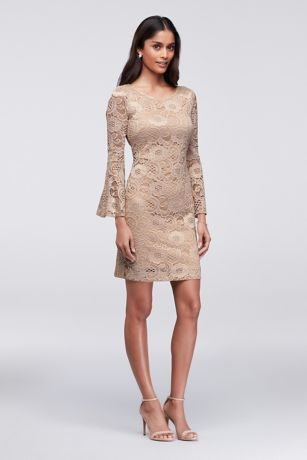 503aecfb8635 Bell sleeves give this lace cocktail dress a graceful finish. By Robbie Bee  Nylon