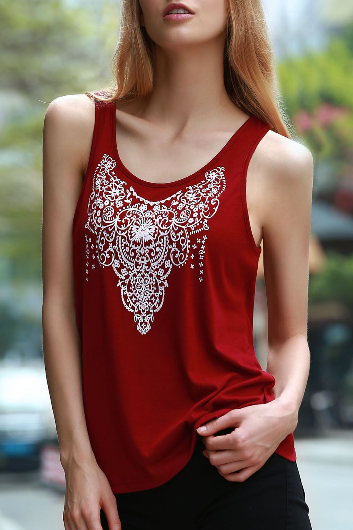 Stylish Red and White Jewel Neck Sleeveless Cut Out Totem Print