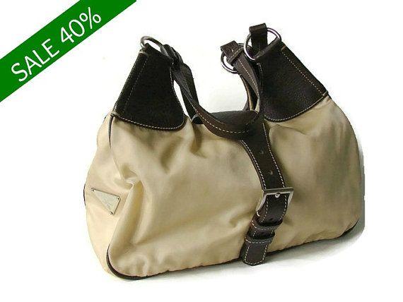 0f01635bd9 SALE Prada shoulder bag. Vintage designer authentic PRADA hobo style purse.  Nylon with Leather trim PRADA handbag