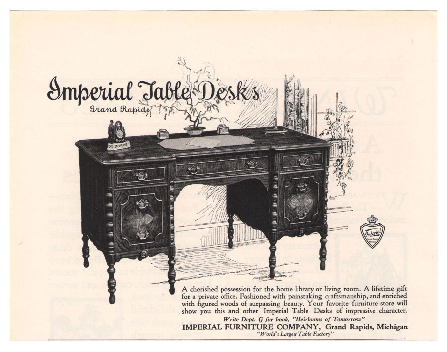 Imperial Furniture U002720s Table Desk Grand Rapids Advertisement Original Ad  1925 #ImperialFurniture #VintageAdvertising