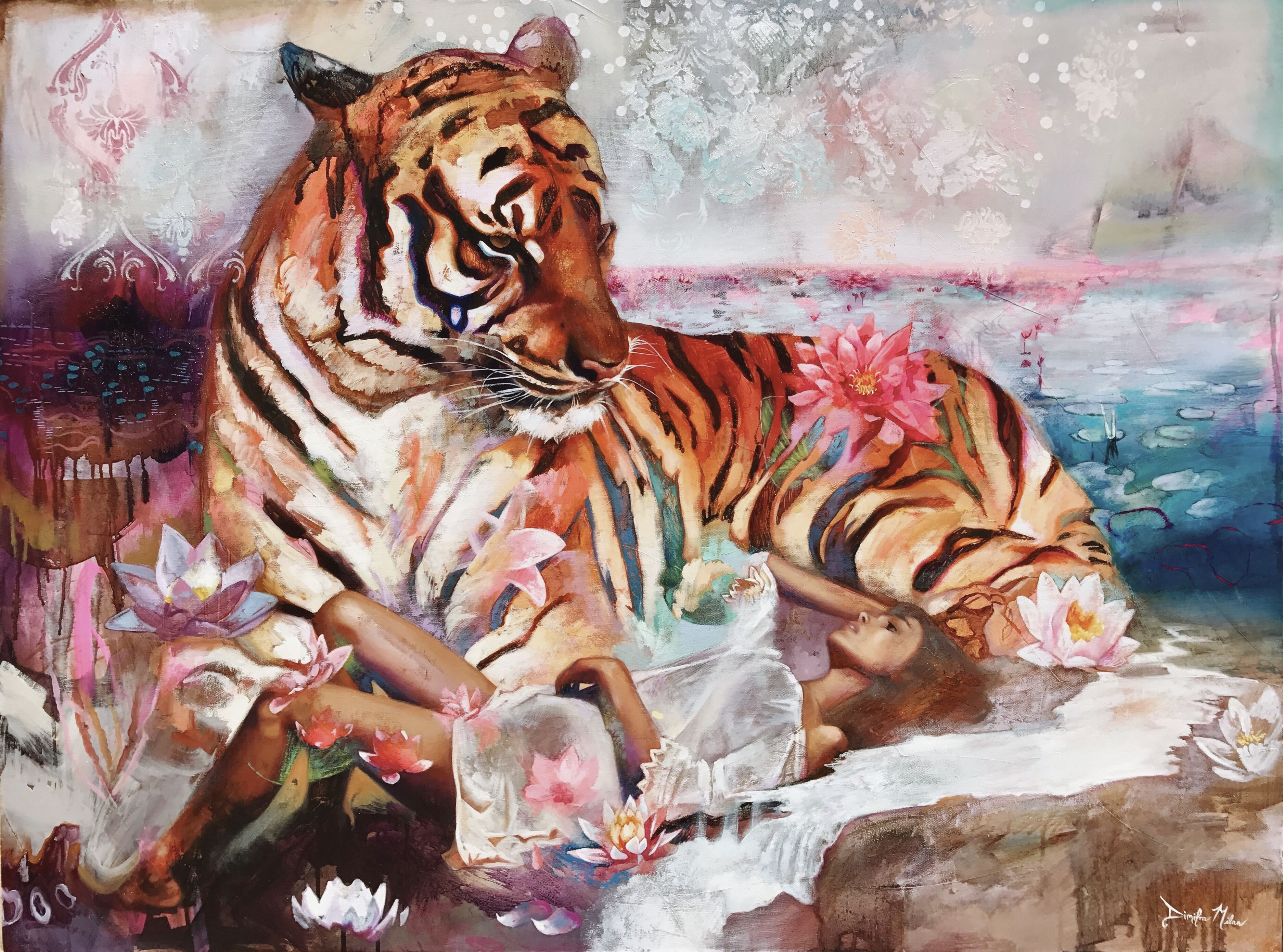 Erotic tigress oil paintings