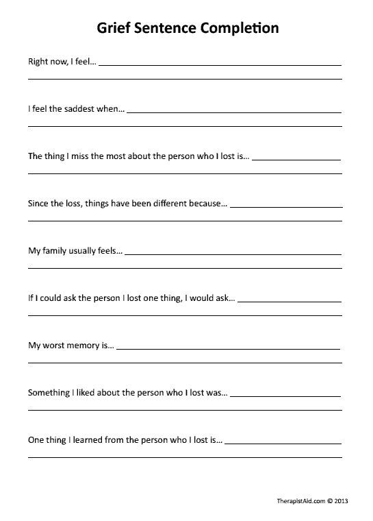 Grief Sentence Completion (Worksheet | kid therapy | Therapy ...