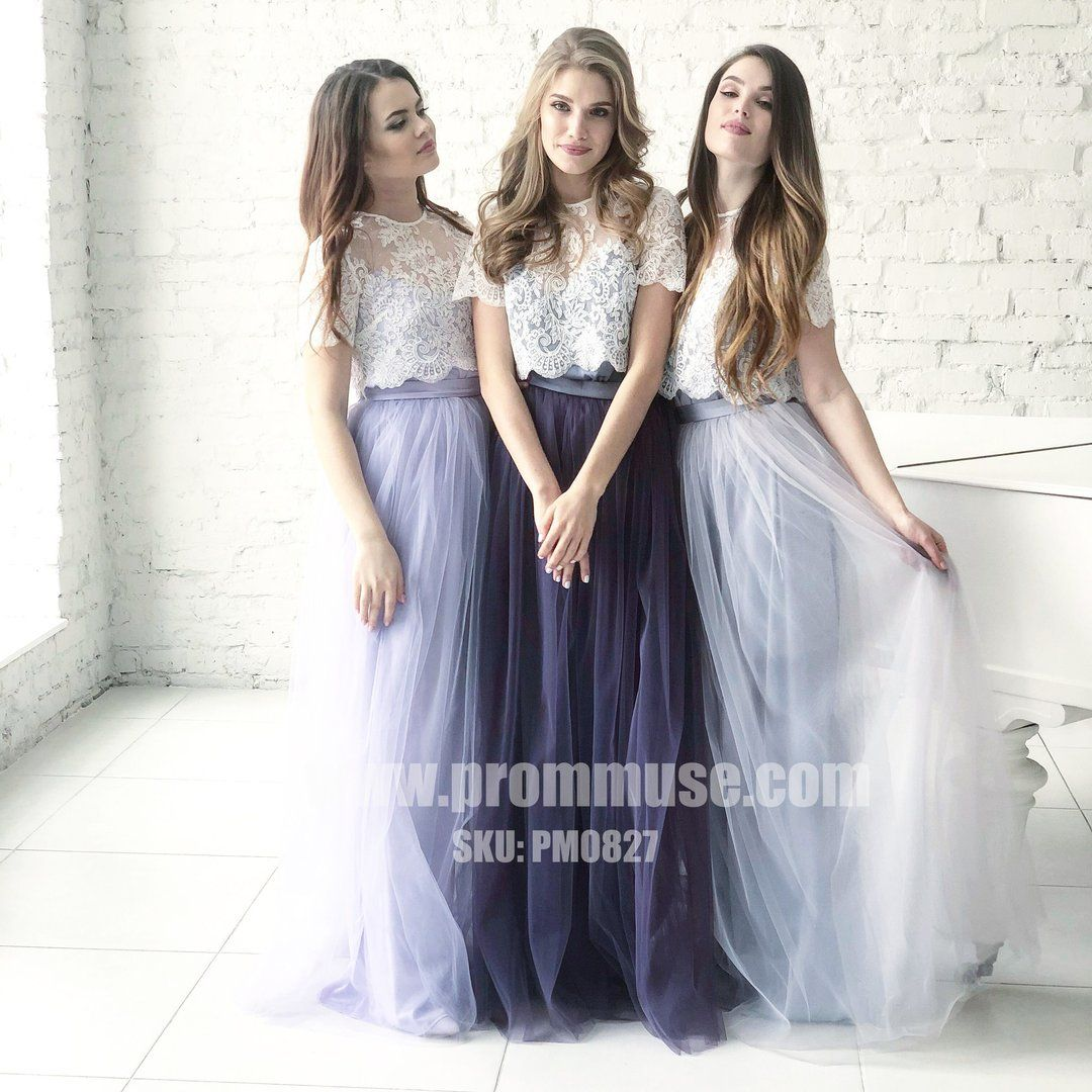 Two Pieces Short Sleeves Lace Tulle Wedding Long Bridesmaid Dresses Pm0827 Two Piece Bridesmaid Dresses Bridesmaid Skirts Tulle Bridesmaid Dress