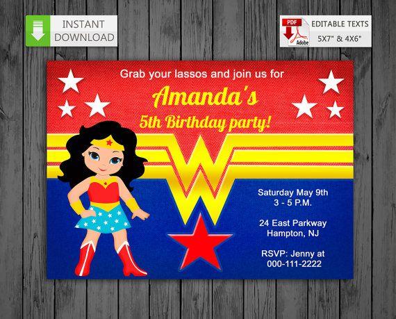 Mujer Maravilla Niña Animada: Printable Invitation Wonder Girl In PDF With Editable