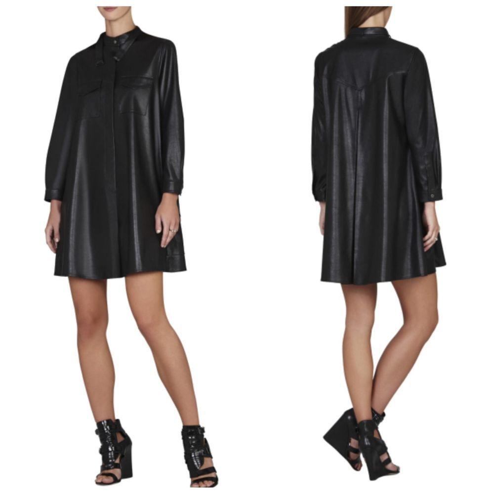 New Bcbg Maxazria Black Emilee Cargo Pocket Shirt Dress S
