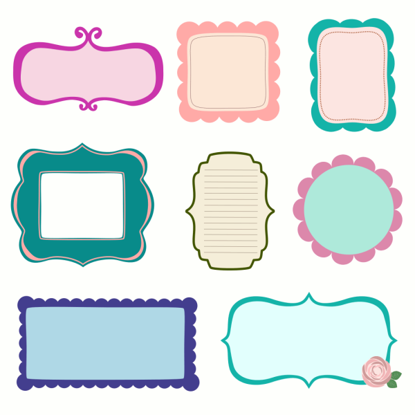 free vector scrapbook frames labels journal tags starsunflower rh pinterest com vector frames free download vector frames free download