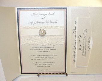 Lace Wedding Invitation Lace Wedding Invite by LavenderPaperie1
