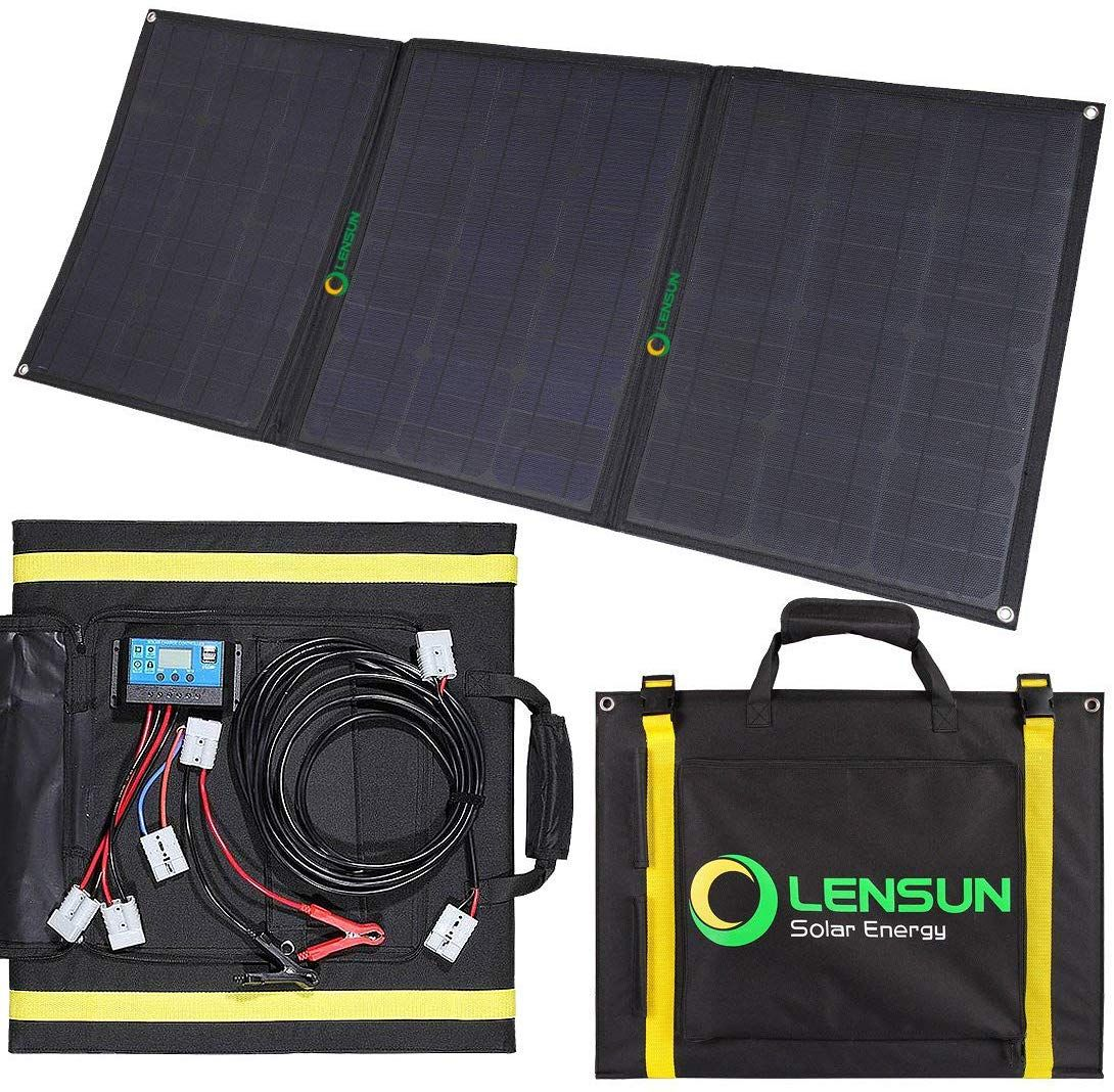 Lensun 100w Foldable Solar Panel Kit Solar Charger Solar Panels Solar Panel Kits