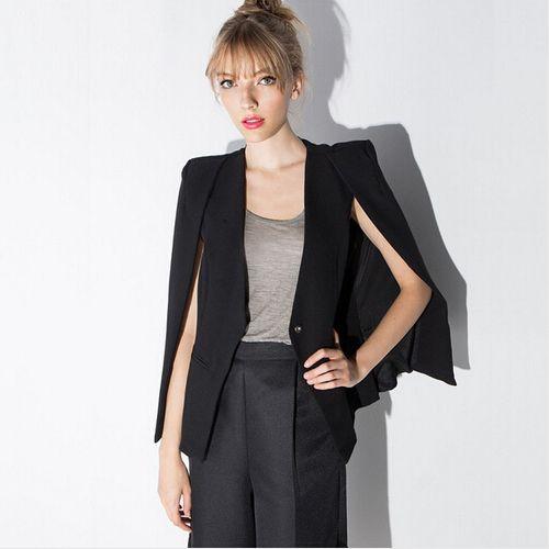 Women cloak cape blazer Black color 2016 Spring and Autumn lapel split long  sleeve blazer feminino one button female suit jacket f2eccf800265