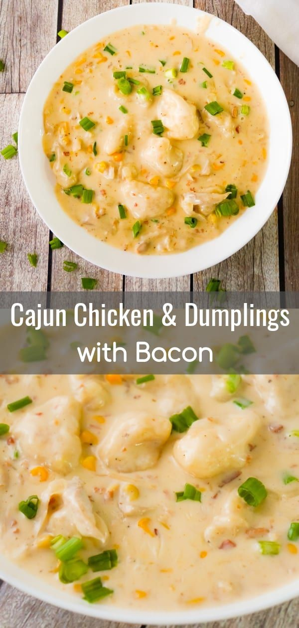 Cajun Chicken and Dumplings with Bacon are an easy chicken dinner recipe using Pillsbury refrigerated biscuits. This thick and creamy dish is loaded with rotisserie chicken, corn, real bacon bits and seasoned with Clubhouse Cajun spice for a bit of a kick. #cajundishes