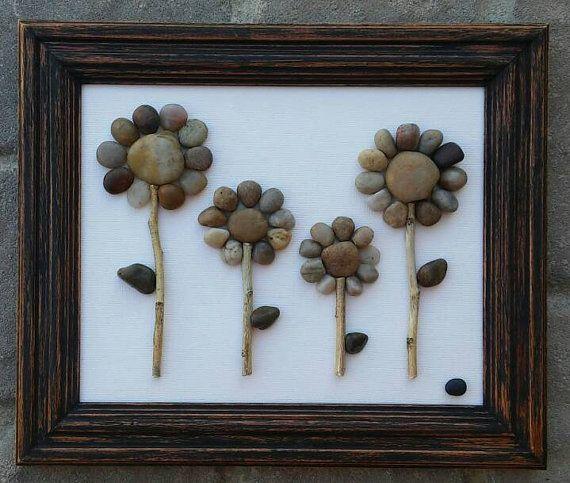 Pebble Art, Rock Art, Pebble Art Flowers, Rock Art Flowers (Four ...