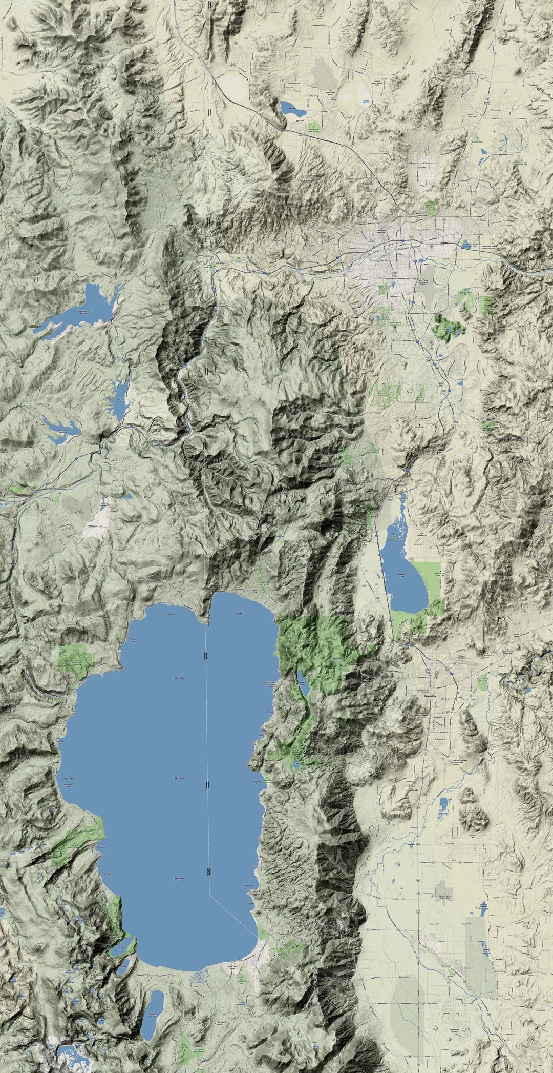 Reno Lake Tahoe Google Maps Terrain View Sierra Nevada Mnts - Map of reno and lake tahoe
