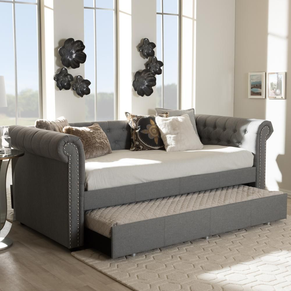 Baxton Studio Mabelle Transitional Gray Fabric Upholstered Twin