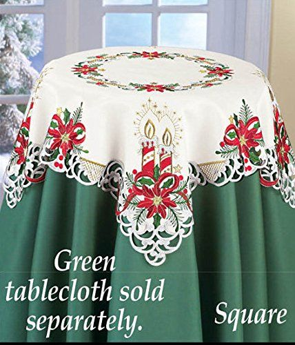 Red Gold Green Candles Poinsettia Table Square Manteles