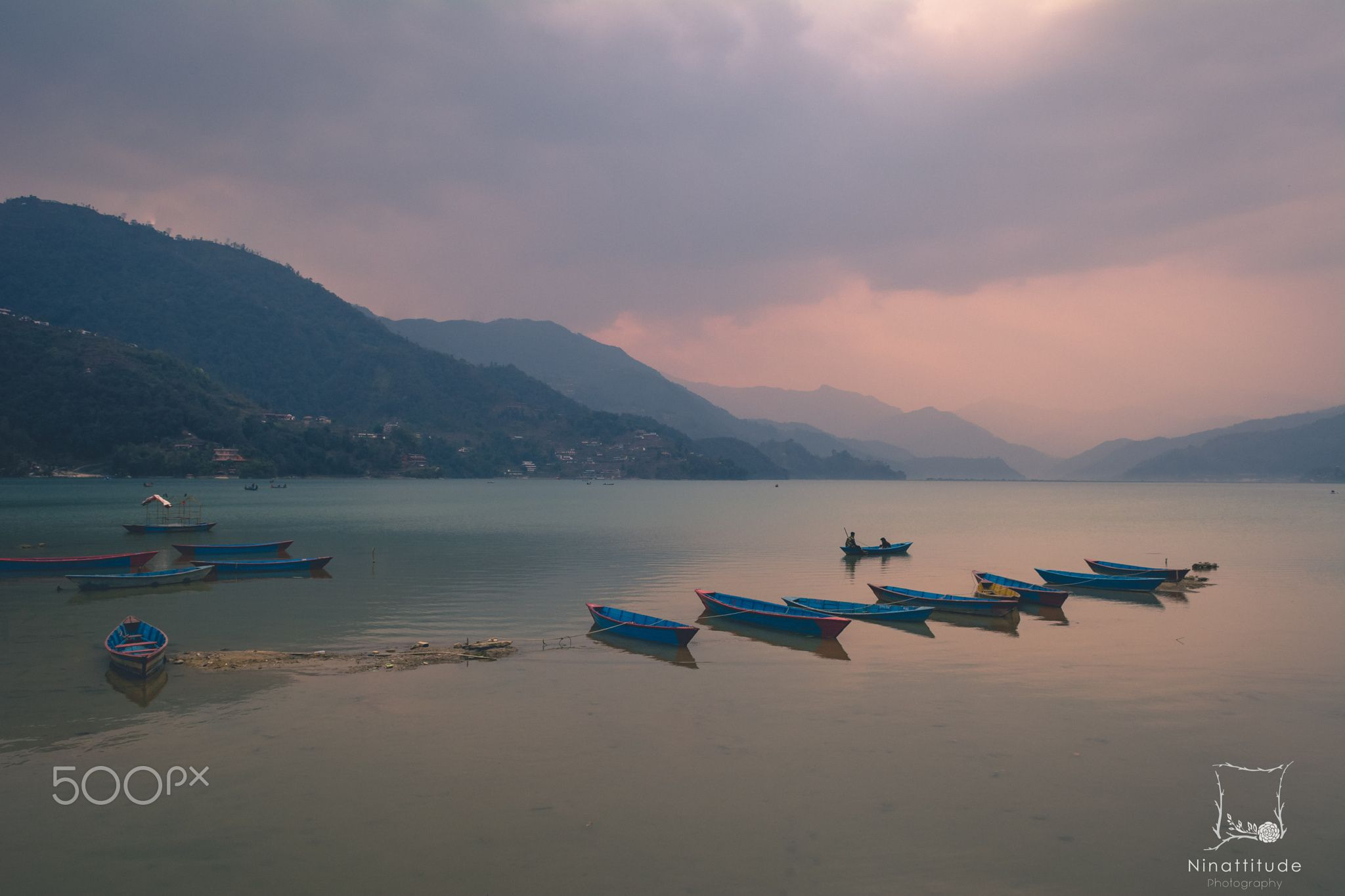 Purple journeys ~ - A rainy afternoon in Pokhara resulted in the most beautiful colored skies, reflecting on Fewa Lake, everything was silent as the boats floated in a sea of colors, everything was suspended in light, waiting for the journey to continue ~