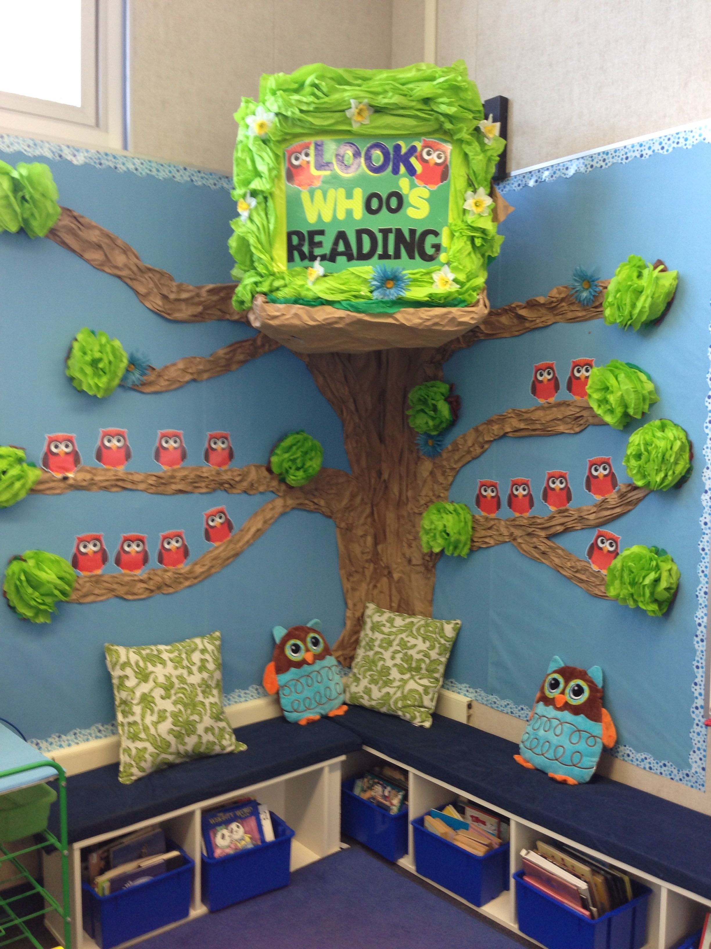 Math Classroom Door Decoration Ideas ~ Reading corner with owl theme love it ikea bookshelves