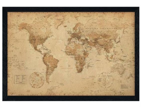 Geographical world map black wooden framed antique style map poster geographical world map black wooden framed antique style map poster gumiabroncs Choice Image
