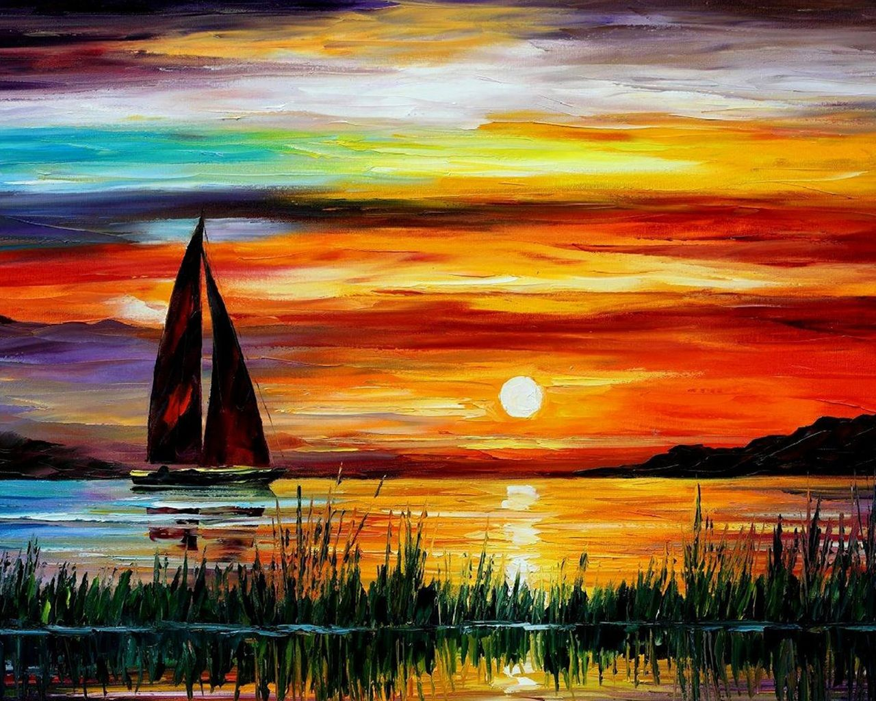 Exquise peinture coucher de soleil mer bateau fonds d - Fond ecran coucher de soleil sur la mer ...