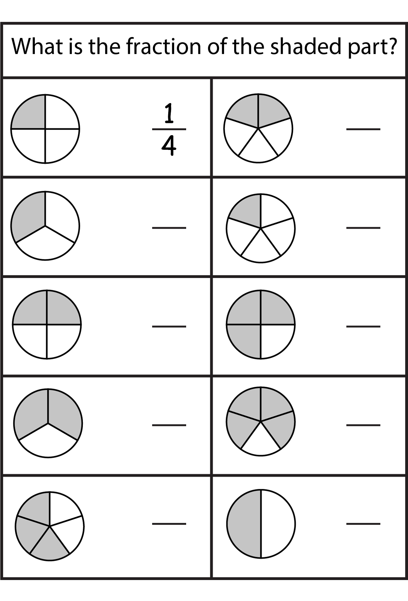 Shape Fraction Worksheets
