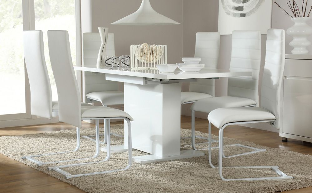 Osaka White High Gloss Extending Dining Table And 6 Chairs