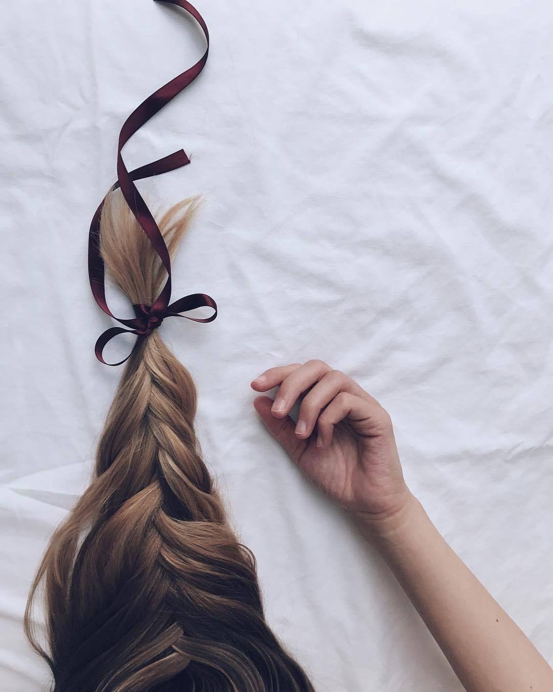 long hair | broads | black ribbon | casual | loose braids ...