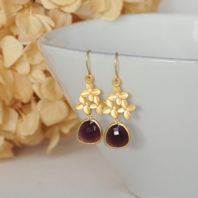 Gold Hydrangea Blooms with a Dangling Plum Glass Pendant Gold Flower Earrings Wedding Earrings Bridal Earrings Everyday Earrings Classic by TheTangerinePoppy on Etsy