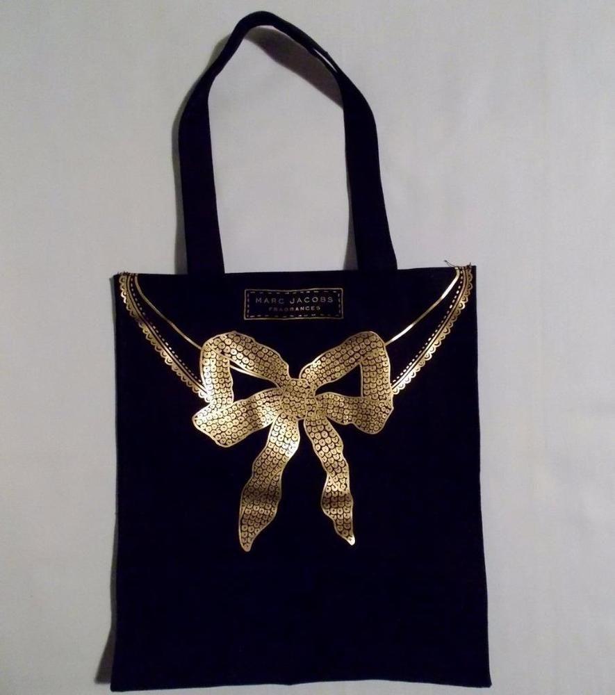 3c97dff0d5 Marc Jacobs Fragrances Tote Bag Black Canvas Gold Bow #MarcJacobsFragrances  #TotesShoppers