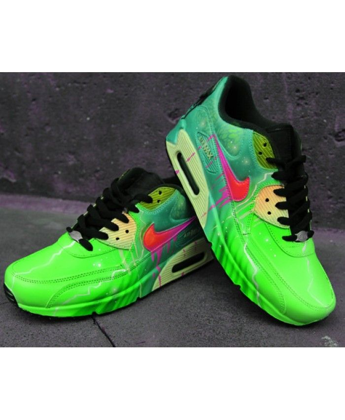 65499f534bf Nike Air Max 90 Candy Drip Poison Green Style Handpainted Trainer ...