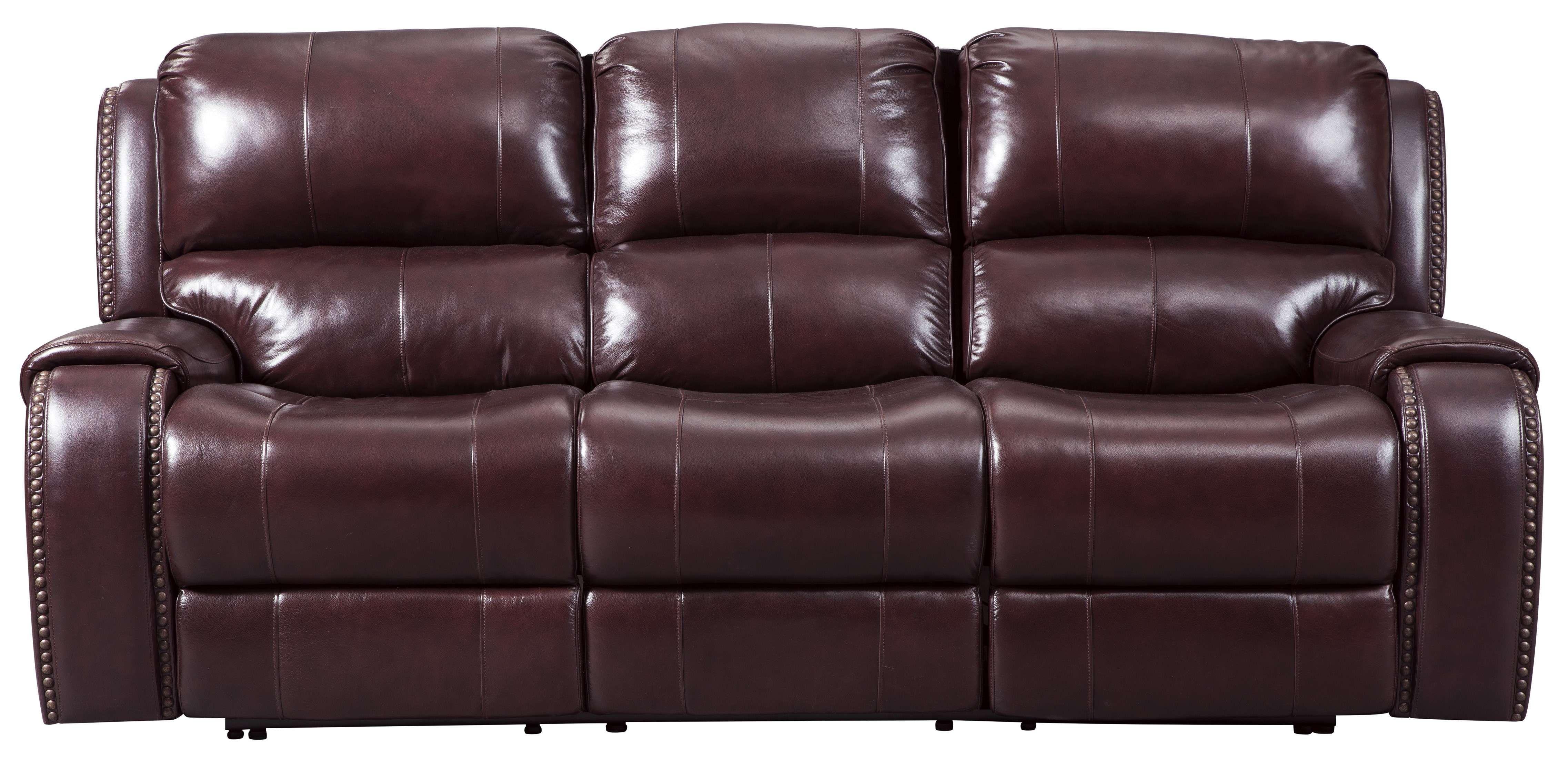 Gilmanton Burgundy Power Reclining Sofa with Adjustable Headrest