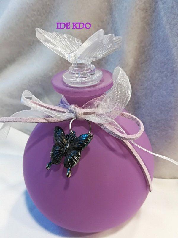 Flacon à parfum en verre coloré Violet opaque avec bouchon forme papillon en verre