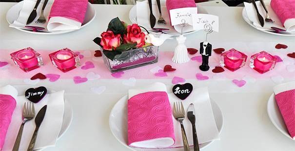 Tischdekoration Pink  Rosa  Tischdesign  Dekoration