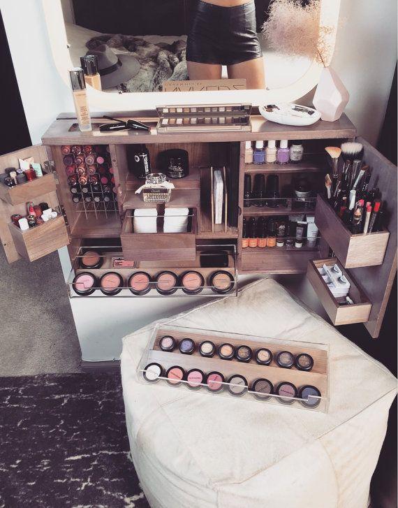 Wall Mounted Makeup Organizer Vanity Van Bleachla Op Etsy Dressing Table