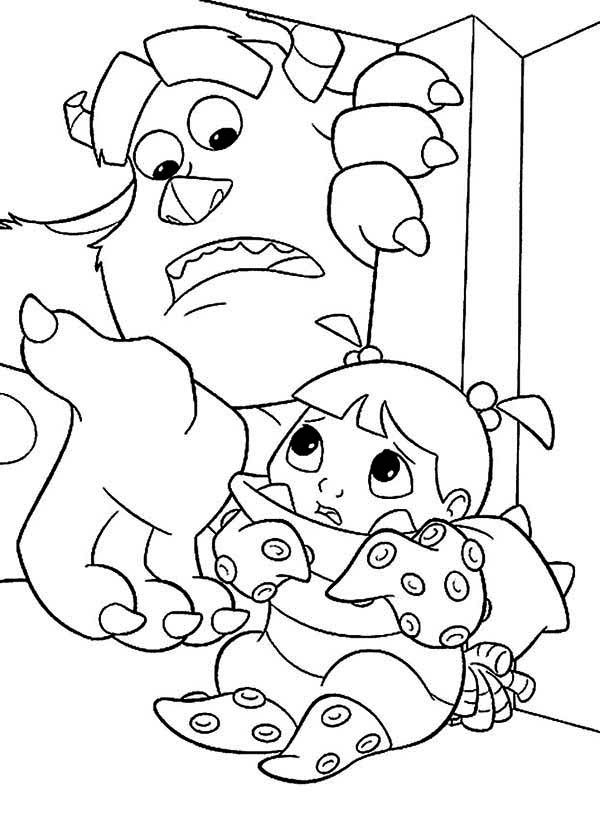 cool monsters inc coloring pages randall hd Sulley is Hidding Boo ...
