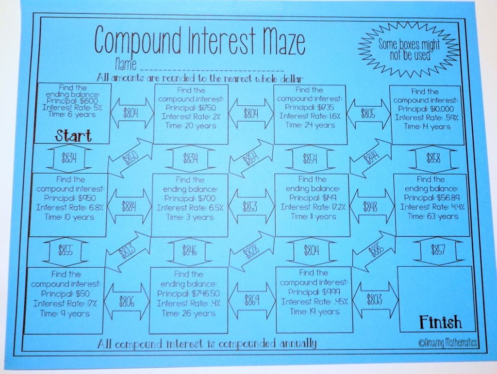 Compound Interest Worksheet - Calculator Required Version Maze Worksheet   Simple  interest math [ 771 x 1024 Pixel ]