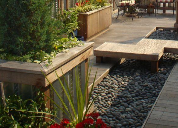 Roof Deck Zen Garden Built In Planters And Benches Roof Garden Design Backyard Decks Backyard