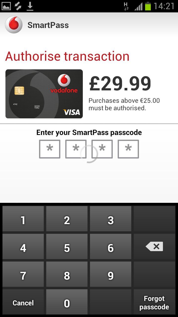 Mpin Approval Of An Nfc Purchase Vodafone Wallet Mobile Wallets  # Muebles Kiona Santander