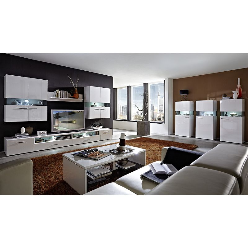 Fantastisch E Combuy Angebote Wohnzimmer Set HATTAN258 Weiß Hochglanz: Category:  Wohnwände Item Number: