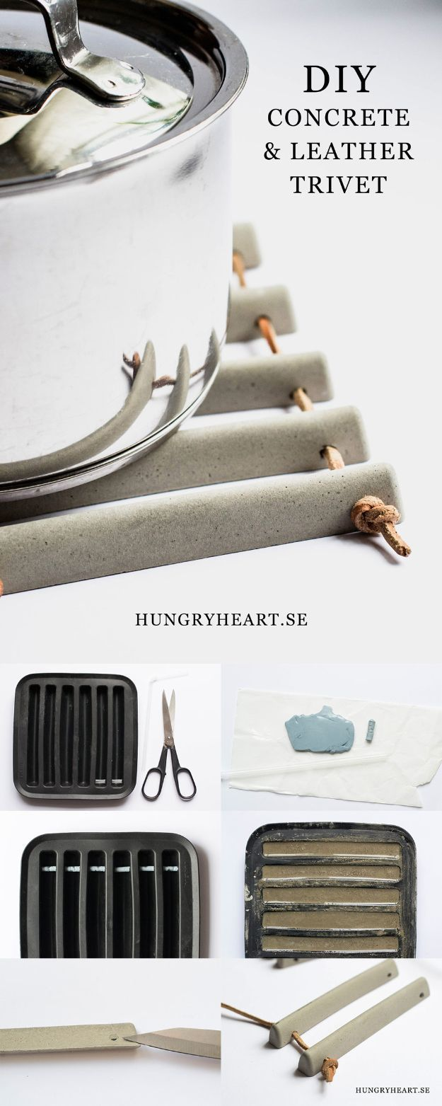 DIY projects with concrete - Concrete and leather coasters - Easy interior decoration ... #beton #decor #lederuntersetzer #projekte